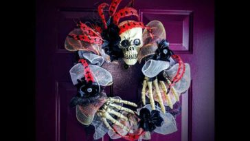 Skull Wreath on Purple Door