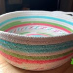 Teal, pink, green, and poke-a-dot cotton rope basket