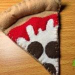 close up of felt pizza