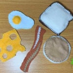 Finished Felt Eggs, Bacon, Cheese, Pancake, and bread
