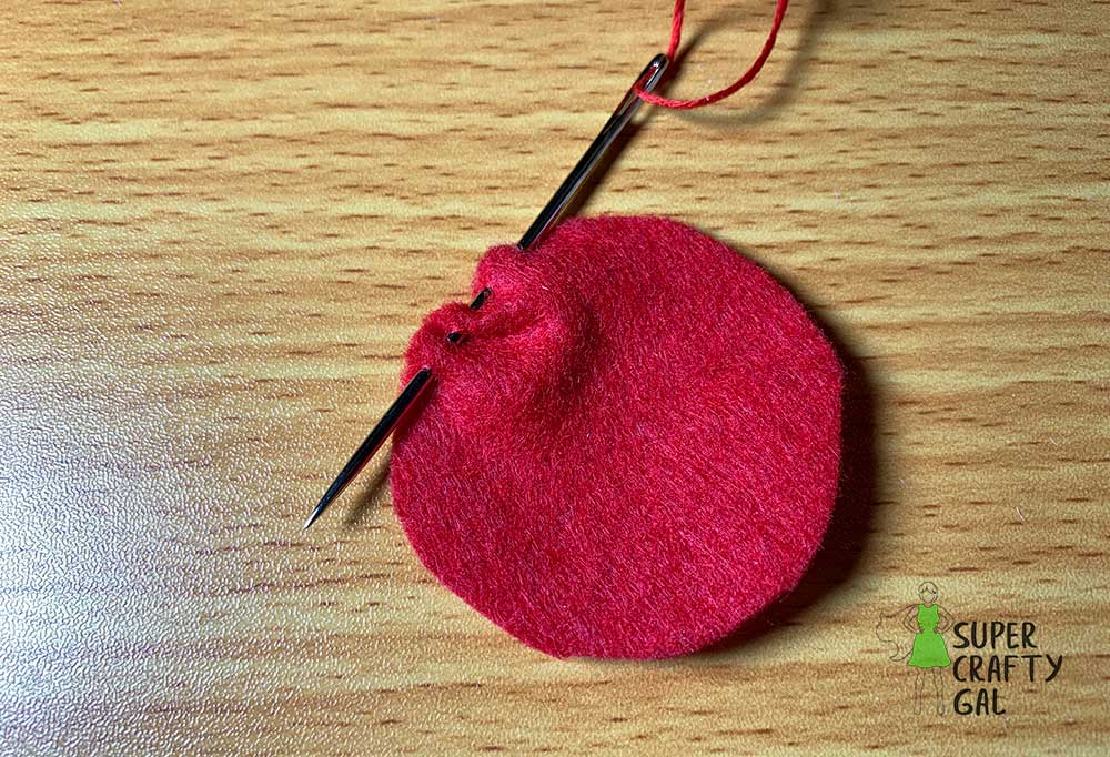 sewing edge of circle for cherry