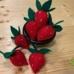 bowl of felt strawberries