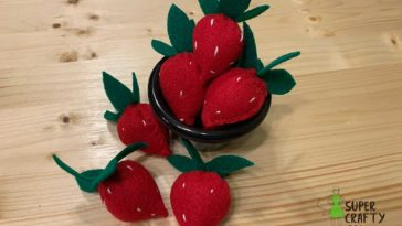 bowl of felt strawberries