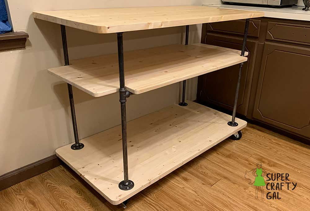 Diy Rustic Kitchen Island Made With Pipe Super Crafty Gal