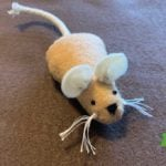 Finished product, felt mouse with rope tail an whiskers