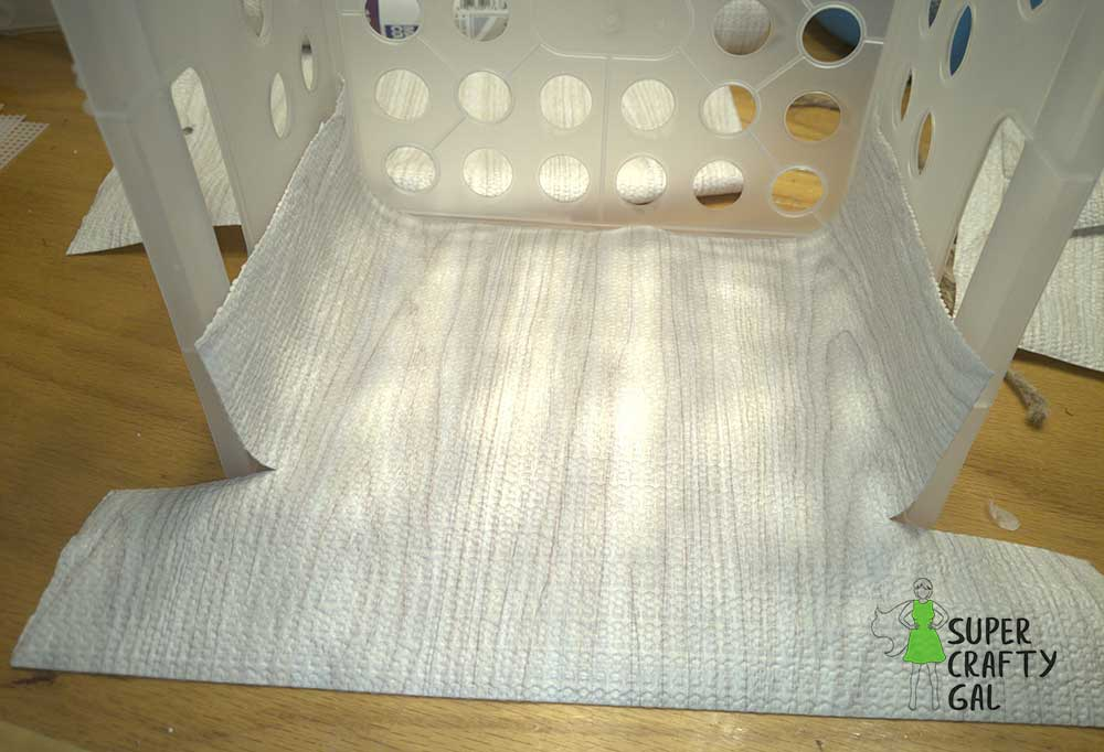lining a milkcrate with cabinet liner