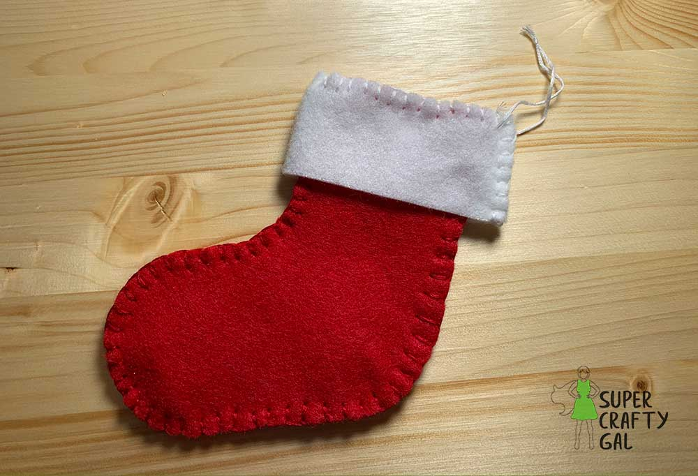 finished Christmas stocking ornament
