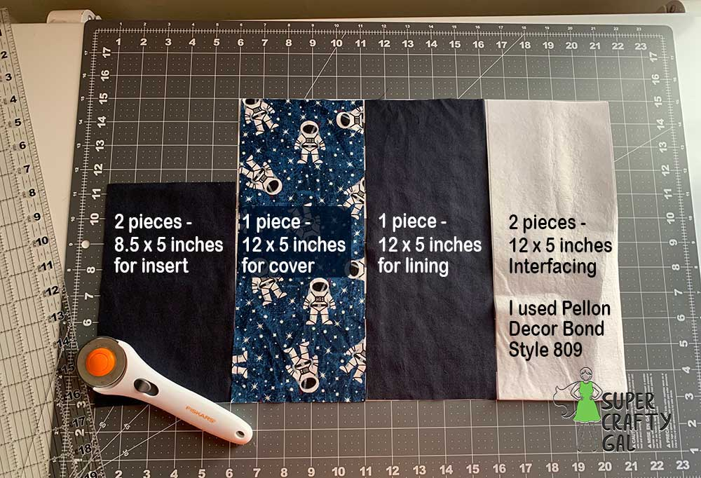 Fabric cut with rotary tool laying on mat  labeled with measurements