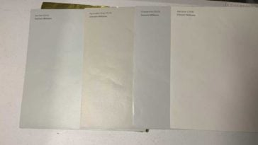 Samplize paint samples on a white table
