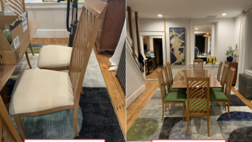Side by side of dining chairs before and after reupholstery